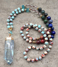 7 Stone Mala Beaded Rough Aura Quartz Necklace Jasper Boho Chakra Lapis Lazuli