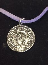 "Aethelred II Coin WC3 Made From  English Pewter On 18"" Purple Cord Necklace"