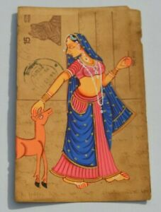 AN OLD RAJASTHAN MINIATURE PAINTED INDIAN POSTCARD OF A INDIAN WOMAN NO 00010