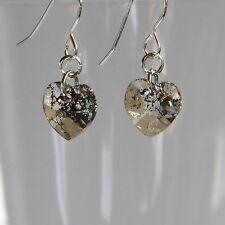 STERLING SILVER 925 CRYSTAL Heart EARRINGS Gold Patina SWAROVSKI Elements