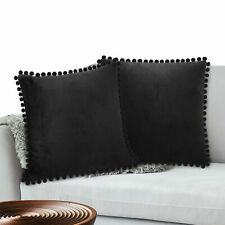 Throw Pillow Covers Set of 2 Sofa Decor Pom Pom Cushion Case 2 Sizes with Zipper