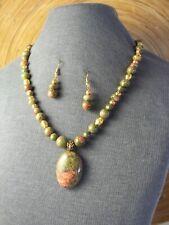 Unakite Jasper Beaded Pendant Necklace Set, Gold Plate