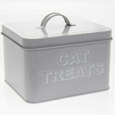 Grey Metal Cat Treats Storage Box 18 x 15 x 12 cm Cat Treat Tin