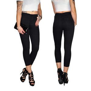 Damen Stretch High Waist Ankle 7/8 Capri 3/4 Röhren Jeans Hose Übergröße E197