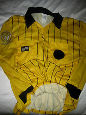 OFFICIAL SOCCER REFEREE MULTI- LOGO 2 POCKET YELLOW L/S SOCCER JERSEY-LNWOT- L