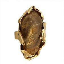 Vintage Artist Style Rutilated Quartz Hand Made 14k Folded Yellow Gold Ring