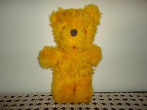 Old Antique Teddy Bear with Felt Tongue Yellow Plush 14 inch