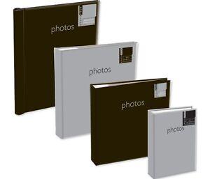 """SILVER or BLACK COVER PHOTO ALBUM 4 SIZES 4"""" x 6"""" 5"""" x 7"""" SLIP IN ADHESIVE MEMO"""