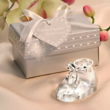 25 Crystal Glass Baby Shoe Bootie Figurine Baby Shower Christening Baptism Favor