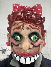 Scary Lady Ventriloquist Puppet Doll Mask Latex Face Halloween Costume Accessory