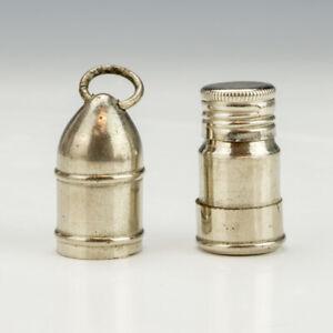 Antique Silver Plated Missile Formed - Pocket Travel Inkwell Ink Bottle