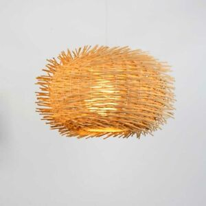 Modern Round Bird Cage Pendant Light Handmade Bamboo Weaving Ceiling Lamp Modern