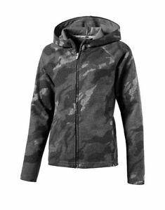girls Puma hoodie camouflage Elemental Fz Hoody Black/Grey 590843-01 full zip