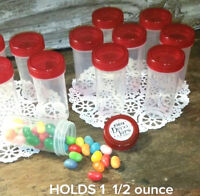20 Pill Bottles JARS See thru Red Lids birthday party favors candy jars #3814 US