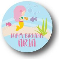 30 Mermaid Birthday Personalized Birthday Party Favors Treat Bag Stickers