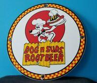 VINTAGE DOG N SUDS ROOT BEER PORCELAIN DRIVE THRU GAS SODA BEVERAGE SERVICE SIGN