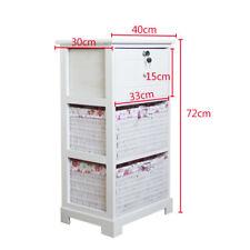 White Wicker Storage Unit 2 Basket 1 Drawers Furniture Bedside Cabinet Bedroom