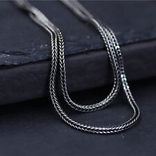 New Hot S925 Sterling Silver Chain Unisex Lucky Wheat Foxtail Link Necklace