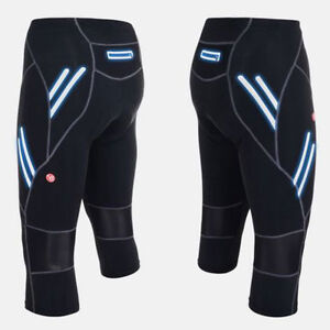 Mens Shorts Padded Tights Capris Pants Outdoor Cycling 3/4 Three Quarter Legging
