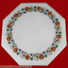 "15"" Marble Corner Table Top Handmade Pietra dura Home Decor and Gift"