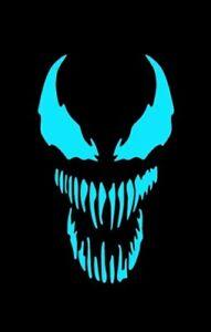 "Venom Patch GLOW IN THE DARK Iron On Heat Transfer Graphic Applique 3.15"" X 1.9"""