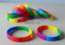 Unisex Gay Pride Rainbow Stripe Silicone Bracelet - Buy 5 Save 25% - Brand New