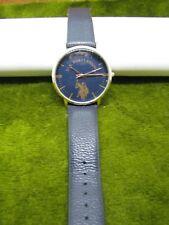 ACCUTIME US POLO LARGE BLUE DIAL WRIST WATCH RUNS FAUX NAVY LEATHER BAND