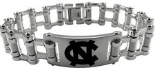 NORTH CAROLINA UNC TAR HEELS * Stainless Steel Bike Chain Bracelet w/Logo * NCAA