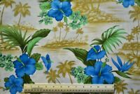 By the 1/2 yd 100% cotton fabric David Textiles Scenic Tropical Poplin orchids