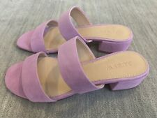 J.CREW Double-Strap Suede Slides in Iced Lilac Size 6.5 Brand New