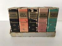 Vintage Dennison Book Labels Set Key Tags Gummed Reinforcements Labels