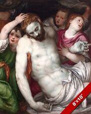 PIETA ANGELS CARRYING BODY OF JESUS PAINTING BIBLE CHRISTIAN ART CANVAS PRINT