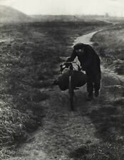 1939 Original Bill Brandt Bike Man Road Mountain Landscape Vintage Photo Gravure