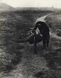 1939 Original Bill Brandt Bike Man Road Mountain Landscape Vintage Photo Gravure