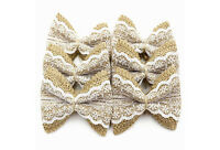 10PCS Linen Lace Bow Trim Rustic Wedding Burlap Ribbon Linen Bow White Decor