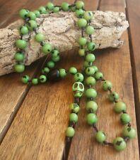 collar calavera gotico verde colgante craneo tipo rosario esqueleto  skull goth