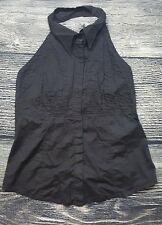 Ceres Anthropologie Women's Black Button Front Halter Top Shirt Blouse Top BR