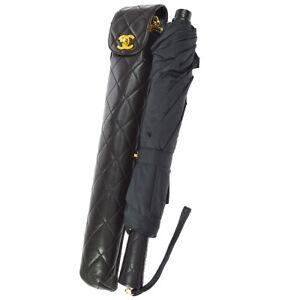 CHANEL Quilted CC Folding Umbrella Black Nylon Leather Vintage K08317b