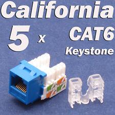 5 Pcs Keystone 8P8C CAT6 RJ45 Network 110 Style Socket Punch Down Jack Blue