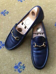 Gucci Mens Shoes Blue Leather Horsebit Loafers UK 8 US 9 EU 42 1953