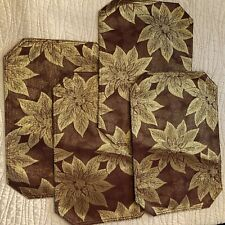 Christmas Metallic Fabric Placemats Wine Red Holly & Gold Lame' Poinsettias