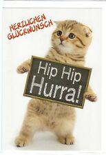 Klappkarte: Hip Hip Hurra! kleine Katze gratuliert zum Geburtstag!