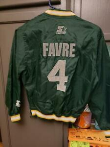 PRE-OWNED NFL GREEN BAY PACKERS QB BRETT FAVRE #4 STARTER JACKET YOUTH SMALL