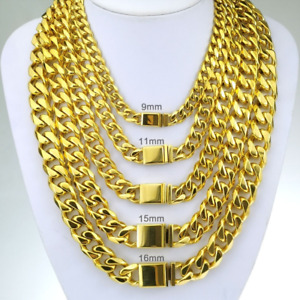 9-16mm Hip Hop Cuban Link Chain Necklace 18k Men Gold Plated Stainless Steel Gif