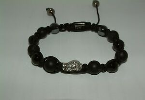 Black Agate Rope Bracelet Beaded Buddha Bangle Buddhist Meditation Prayer