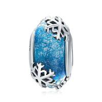 925 Sterling Silver Winter Snowflake Blue Murano Glass Beads pandora Charm Gift