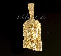 MICRO!! 14k Gold gp Jesus Piece Mini Pendant White Simulate Diamond HipHop cross