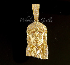 MICRO 14k Gold gp Jesus Piece Mini Pendant White Simulate Diamond icedout HipHop