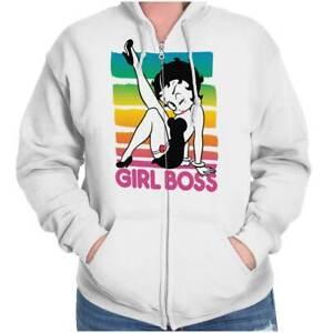 Betty Boop Girl Boss Retro Cute Official Womens Zip Hooded Sweatshirt Hoodie