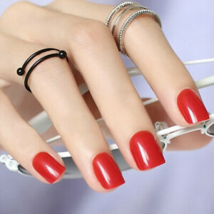 SHORT *RED HOT* FULL COVER Transparent Press On 24 Nail Tips! sc1